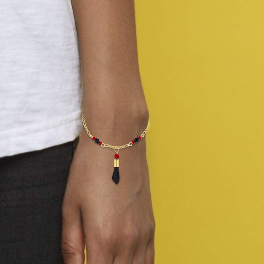 In Season Jewelry 18k Gold Plated Figa Hand Simulated Azabache Bracelet Evil Eye Protection 6.5