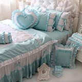 Wolala Home 100% Cotton Home Textile Girls Bowknot Bed Sets Beautiful Ruffled Duvet Cover Bedding Set Cute Princess Bedding Set (Full, blue)
