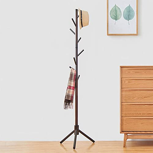 WALTSOM Coat Racks Free Standing, Wooden Coat Hat Tree with 8 Hooks, Hallway Entryway Clothes Hanger Hook Stand for Coat, Scarves, Handbags, Umbrella, NO Tools Required, Solid Wood Coffee