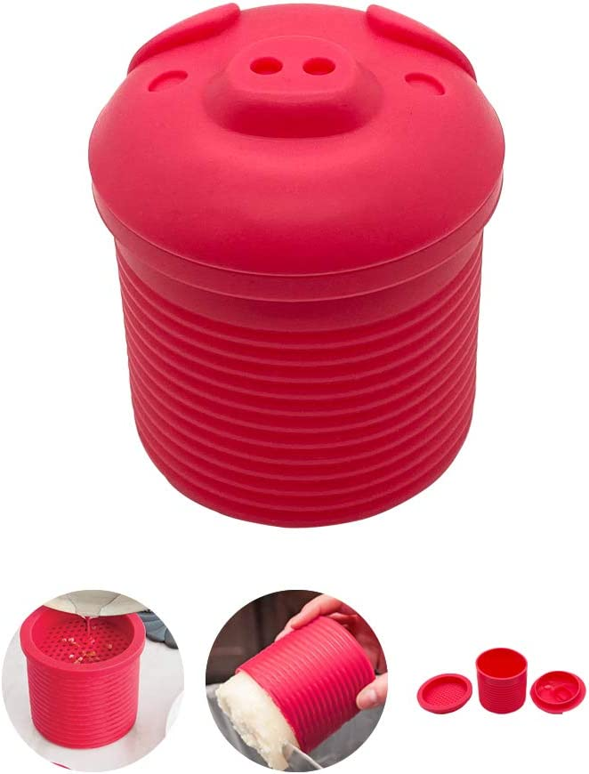 Snowyee Bacon Grease Container with Strainer, Bacon Grease Strainer Holder for Kitchen Oil Filter Made by Silicone (Pink / 1 Piece)