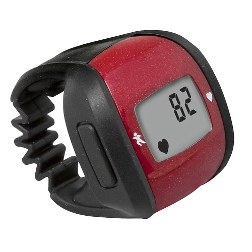 ulse Ring Heart Rate Monitor, Stopwatch and Clock, Includes Lanyard, Red ()