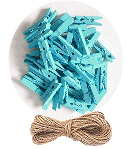- DurReus 50pcs Small Wood Clothes Pins Pegs Hangers Picture Display Art Crafts Clip Clamps String Wire Clothesline Party Office Decor Bright Blue