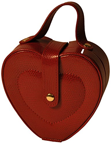 Lizard Heart Print (Budd Leather Lizard Print Heart Shaped Jewel Box with Handle, Red)