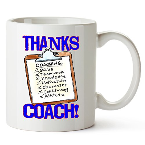 """Play Strong MUG -""""THANKS COACH!"""" Clipboard Sports GIFT MUG Awesome team sports gift - your COACHES will love"""