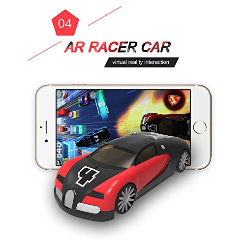 KaiTai Red AR Racer A Real fly Car On Mobile With Lights,Vibration,Jumping Real Feel Virtual Reality Car Racing Gaming System and free Gaming App Mini Pocket Game Toy speed Car for Android,IOS.