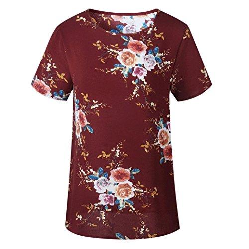 Florale Tops Blouse Retro shirt Dcontracte Vovotrade Crop Hemd Mode Courte Manche Tunika Haut Rouge T Ete Femmes Sexy Elegant Casual Dames Impression Chemisier Tunique 1qzOHCnwCx