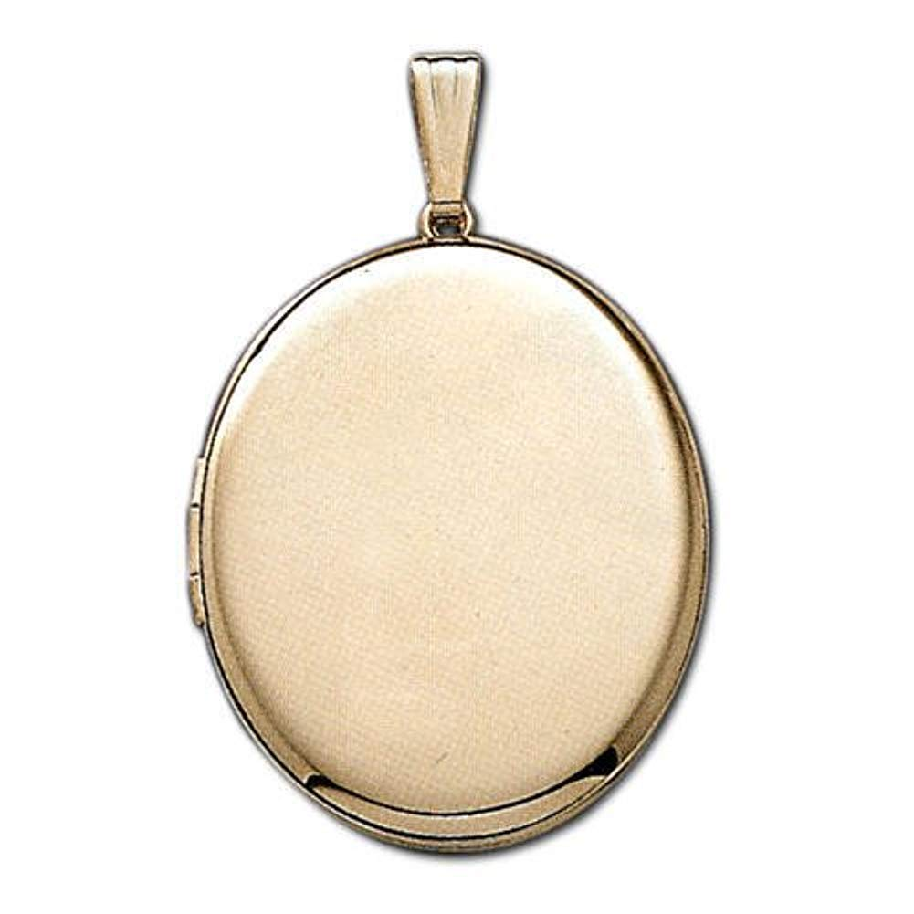 Solid 14k Yellow Gold XL Oval Picture Locket 1 Inch X 1-1/2 Inch in Solid 14K Yellow Gold