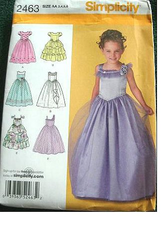 Simplicity Pattern 2463 Girls Special Occasion Dress in 2 Lengths with Bodice and Trim Variations, 3-4-5-6