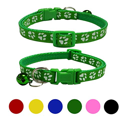 SIBOTER Cat Collar Dog Small Animal Pet Collars with Bells Colorful 6 Pack Red Blue Green Pink Yellow Black