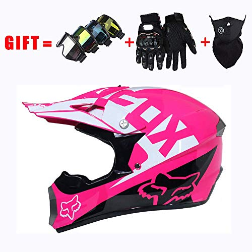LLQ Adult Motorcycle Fox Helmet D.O.T Certified Motocross Mountain Bike and Scooter Safety and Breathable Gift Men Women Goggles Gloves Mask