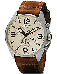 T16 Cream Swiss Chronograph Pilot Watch - 44mm Dial - Vintage Leather Strap …