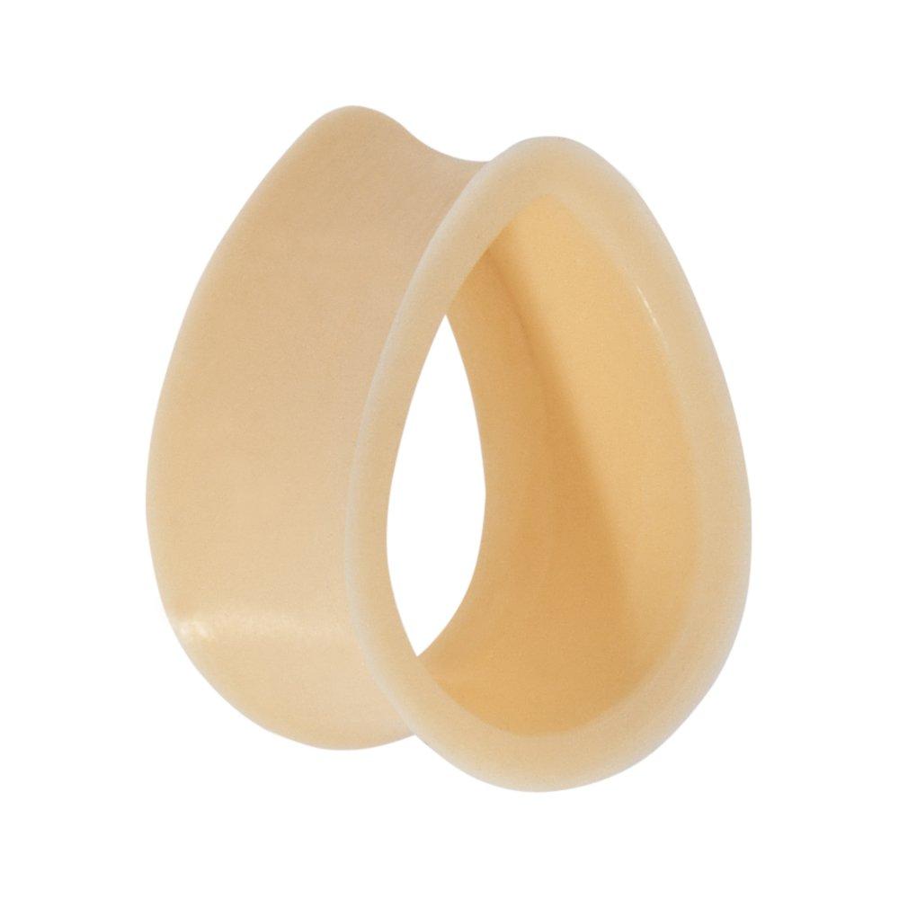 Body Candy 20.5mm Flesh Teardrop Silicone Flexible Tunnel Ear Gauge Plug (1 Piece)