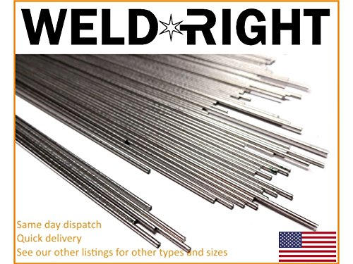 Weld Right Stainless Steel ER316L SS Tig Filler Welding Rods - 1/16's - 1.6mm x 10-100 Qty - 13 inches in length by Weldright
