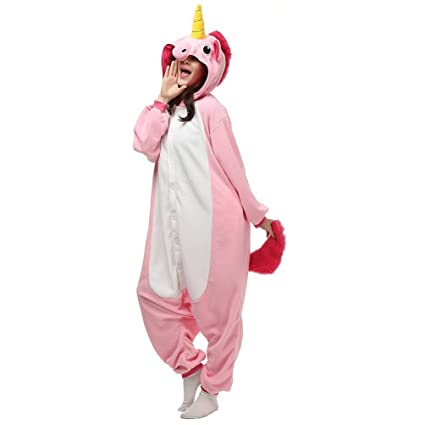 LemonGo Adult Unisex Unicorn Onesie Pajamas Kigurumi Cosplay Costumes Animal Outfit (L, pink)