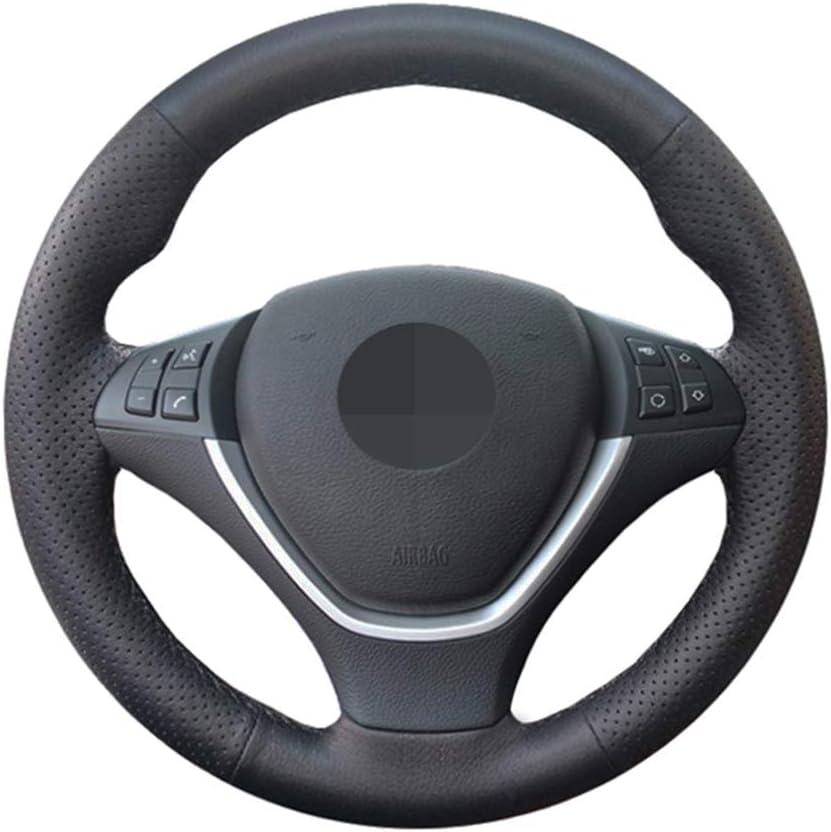 SLONGK Coprivolante per Auto,per BMW X6 E71 2008-2014 E70 X5 2008-2013 coprivolante in Pelle Artificiale Nera a Mano