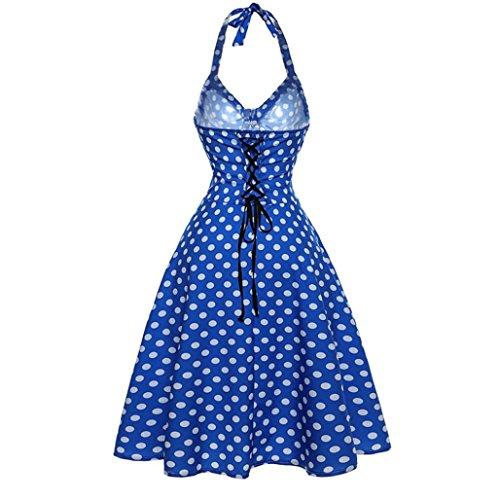 Dot Dot Robes soire Sans Moulante Femme Vintage robes Cocktail de Bleu Swing Halter Manches GreatestPAK vg1PHwqw