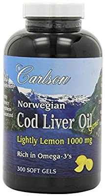 Carlson Lightly Lemon Cod Liver Oil 1000mg, 300 Softgels (Pack of 3) , Carlson-eyik