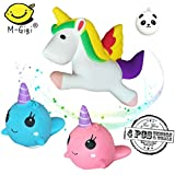 Slow Rising Jumbo ANIMAL SQUISHIES: Unicorn & Whale Cartoon Squishies Kawaii Soft Squeeze Toys Stress Relief Toys For Kids and Adults, 3 Pack