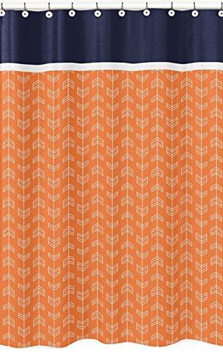 Amazon Sweet Jojo Designs Orange And Navy Arrow Collection Boys Kids Bathroom Fabric Bath Shower Curtain Baby