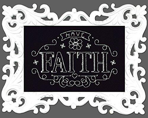Design Works Have Faith 14-Count Black Aida with White Plastic Frame Cross Stitch Kit, Multi-Colour by Design Works by Design Works
