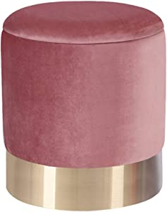 LOVEHOME Round Storage Ottoman,Velvet Padded Seat Dressing Stool Vanity Stool Footrest Pouf for Closet Bedroom Entryway Pink 363642cm((141417inch)
