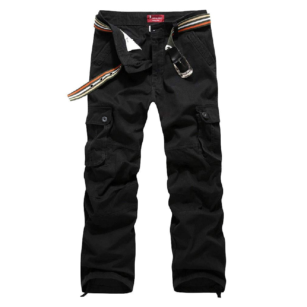 Zimaes-Men Oversized Baggy Straight Multi-Pockets Ripstop Combat Trousers