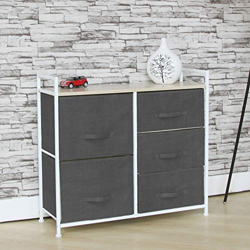 Fancy Linen 5 Grey Drawer Storage Chest Vertical Organizer Unit with Fabric Bins and Wood Top for Bedrooms, Hallways, Living Room, Nursery Room, Playroom and Closets New (Dresser For Sale)