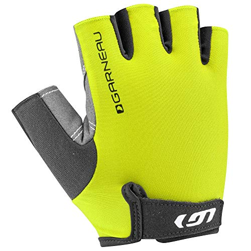 Louis Garneau Men's Calory Padded, Breathable, Shock Absorbing, Half Finger Bike Gloves, Bright Yellow, X-Large