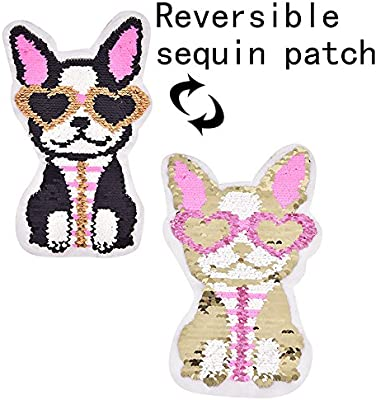 2018 New Tiger Reversible Change Color Sequins Sew On Patches for Clothes DIY Patch Applique Bag Clothing Coat Sweater Crafts