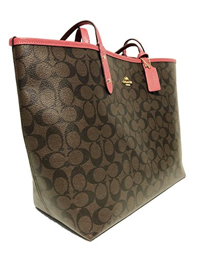 Light PVC Gold Brown Coach City Rouge Tote Reversible F36609 Signature EwYAP