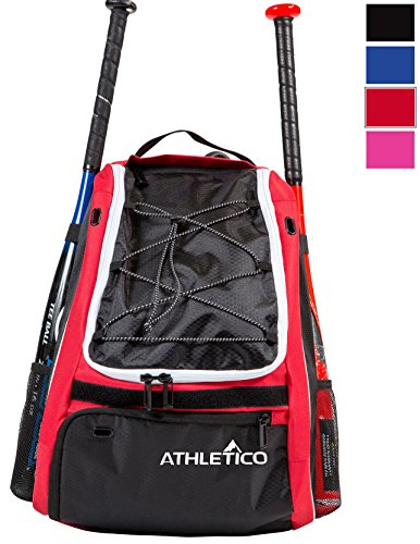Athletico Baseball Bat Bag - Backpack for Baseball, T-Ball & Softball Equipment & Gear for Kids, Youth, and Adults | Holds Bat, Helmet, Glove, & Shoes | Separate Shoe Compartment, & Fence Hook (Red)