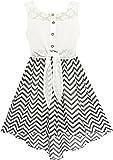 HD34 Girls Dress Lace To Chiffon Striped Black White Tied Waist Age 12 Years