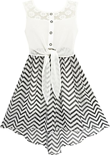 Sunny Fashion HD35 Girls Dress Lace to Chiffon Striped Black White Tied Waist Size 14 -