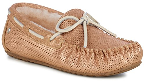 Amity EMU Black Sheepskin Rose Australia Moccasins Gold Slippers in Womens Metallic qIFpRIxSw