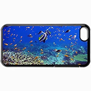 Fashion Unique Design Protective Cellphone Back Cover Case For iPhone 5C Case Fish Corals Underwater World Reef And Fish Black