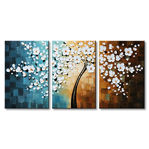 (Winpeak Hand-Painted White Flower Oil Painting Modern Floral Canvas Wall Art Abstract Plum Blossom Artwork Stretched and Framed Ready to Hang)