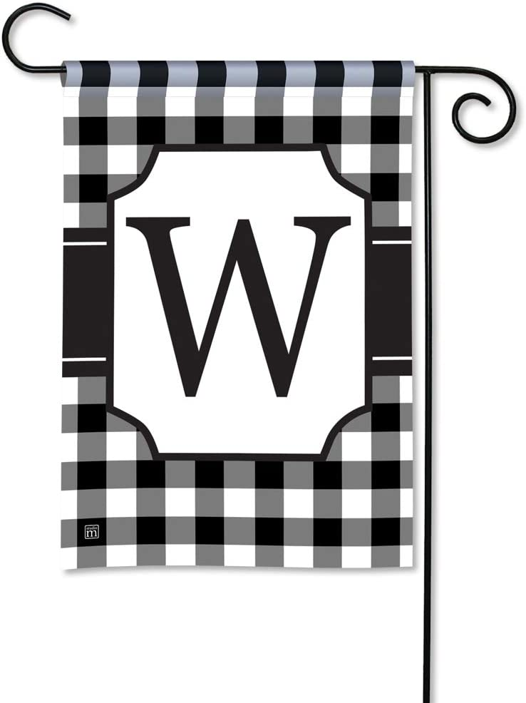 BreezeArt Studio M Black & White Check Monogram W Decorative Garden Flag – Premium Quality, 12.5 x 18 Inches
