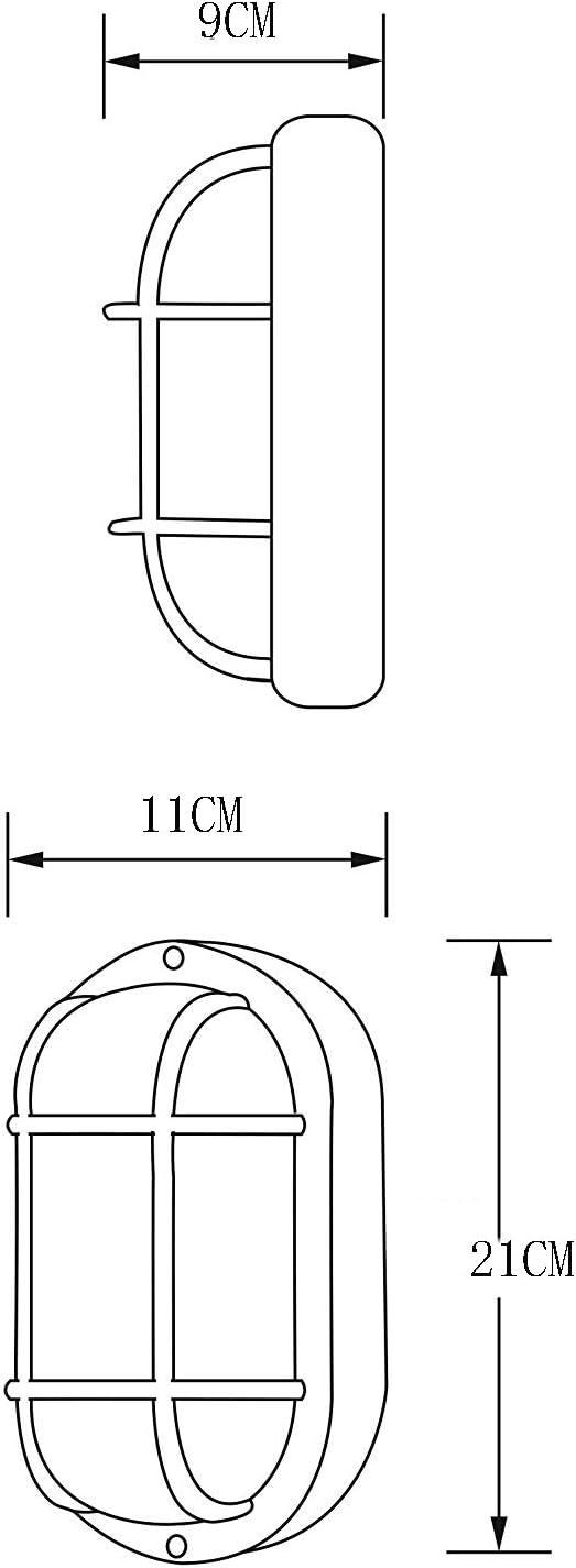 Retro Kellerlampe Industrielle wasserdichte Wandleuchte Ovalleuchte Saunalampe IP54 mit Schutzgitter Boot Wandlampe Aluminium Glas Deckenleuchte (Mit Lichtquelle),Silver Bronze