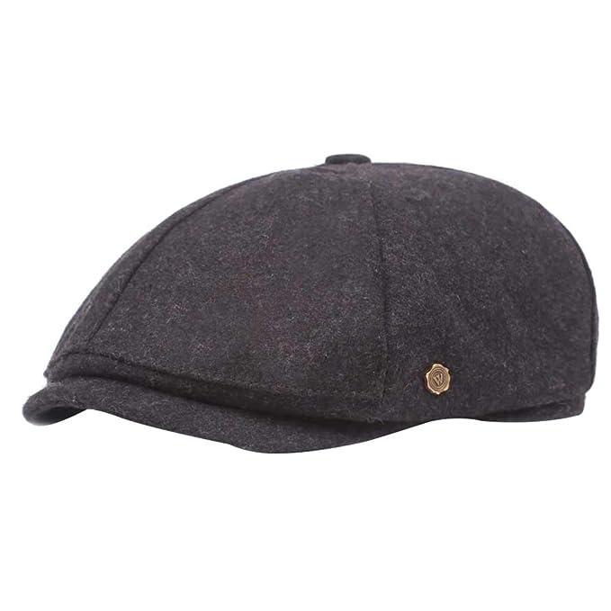 Wicemoon Moda Gorra Octogonal de Invierno Cálido Sombrero para Hombres Boina Gris 55-60cm: Amazon.es: Ropa y accesorios