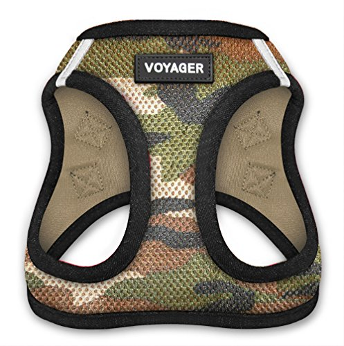 Voyager All Weather No Pull Step-in Mesh Dog Harness with Padded Vest, Best Pet Supplies, Medium, Army Base