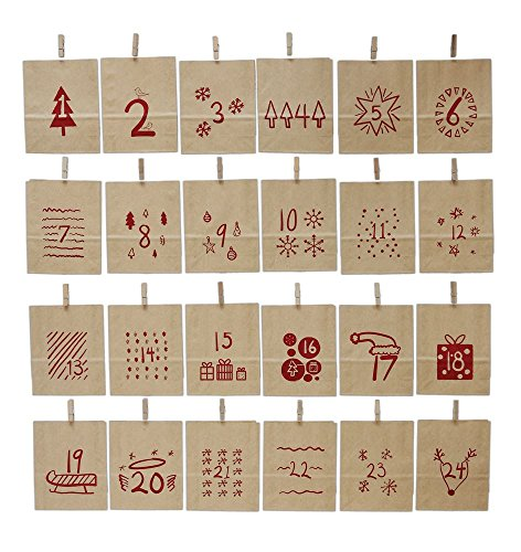 Creative Co-op Countdown to Christmas Advent Calendar Bags with Clothespins