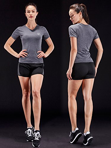 Neleus Women's 3 Pack Compression Workout Athletic Shirt