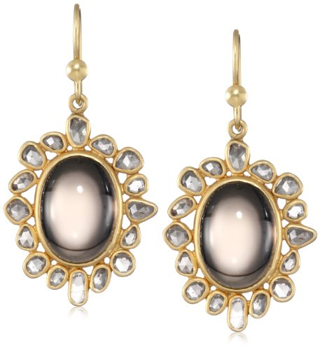 Lauren Harper Collection Midnight 18k Gold, Smokey Topaz and Champagne Rose Cut Diamond Oval Earrings