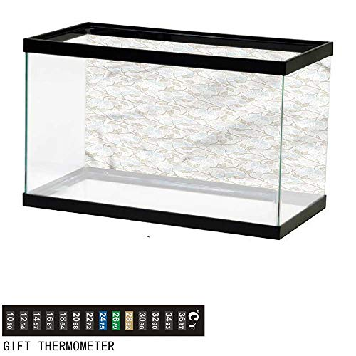 - bybyhome Fish Tank Backdrop Grey,Striped Leaves Branches Dotted,Aquarium Background,48