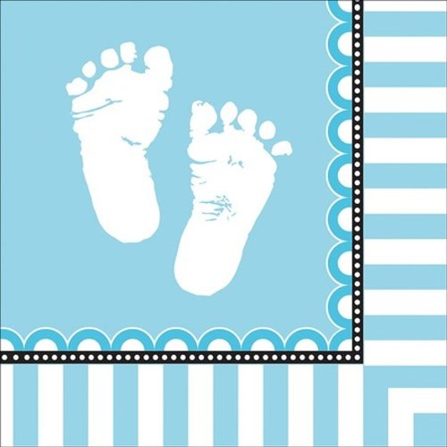 16-Count Paper Lunch Napkins, Sweet Baby Feet Blue