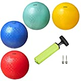 Premium Playground Balls for Kids (Set of 4) with 2 Pins and Pump by New Bounce|Extra Durable Rubber for Outdoor & Indoor Toddler Play, Ball Pits, Kickball, Handball, Camps|Colorful and Fun|8.5""