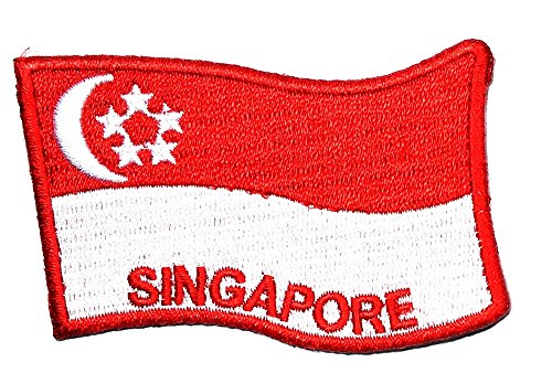 Singapore National Costume (Singapore Flag Patch Sew Iron on Logo Embroidered Patch Iron On Sew On National Emblem Patch Jacket T Shirt Patch Sew Iron on Embroidered Symbol Badge Cloth Sign Costume)
