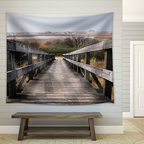 Rustic Wood Staircase in the Wild Fabric Wall Tapestry