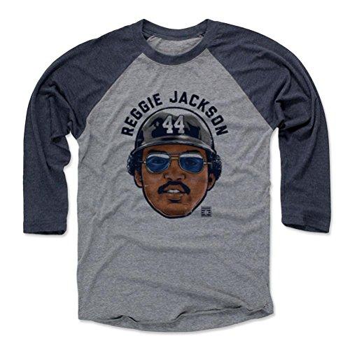 Reggie Jackson Shirts (500 LEVEL's Reggie Jackson 3/4th Baseball T-Shirt L Navy / Heather Gray - Reggie Jackson Bam K - New York Baseball Fan Gear Officially Licensed by the Baseball Hall of Fame)