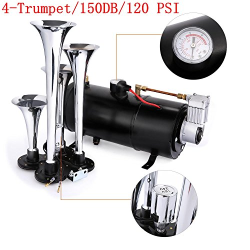 Kaluo 4 Trumpet Train Air Horn Kit, 120 PSI Air System With 12V Air Compressor 150DB Super-Loud Train Horns Kit for Truck Car Boat SUV(US STORAGE)